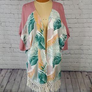 Tropical Print Kimono with Macrame Like Fringe